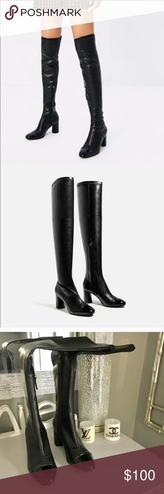 Zara black faux leather over the Knee boots size 6 Absolute perfect condition. Never worn. Size 6. Faux leather. Tight fit throughout the leg. Side zipper Zara Shoes