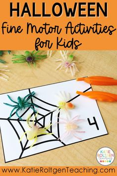 Here are 11 low-prep, fun fine motor activities for Halloween! Perfect for your pre-k, kindergarten, or first grade classroom, your primary students will love getting to practice math, literacy, fine motor development, and social skills while creating spiders, pumpkin faces, and candy corn. These Halloween fine motor activities also help to develop important pre-writing skills.