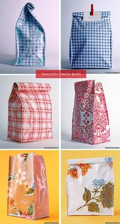 DIY lunch bag is a good idea to turn an old cloth into oil cloth Sewing Hacks, Sewing Tutorials, Sewing Patterns, Sewing Tips, Sewing Ideas, Fabric Crafts, Sewing Crafts, Sewing Projects, Diy Projects