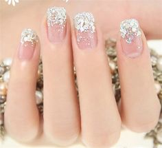 Glittering and translucent get rid of the bride manicures