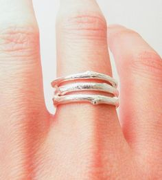 Silver Twig Stacking Rings   These three silver rings are handmade from pieces of a real tr...   Rings
