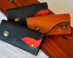 Hand Made Custom Made Leather Phone Wallet by ClassicFibre on Etsy