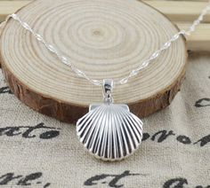 """New Jewelry 925 Sterling Silver Shell Pendant Water Wave Necklace Chain 20"""" #LocketPendantNecklace"""