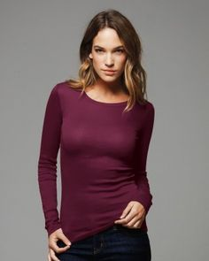 Bella - Ladies' Sheer Mini Rib Long Sleeve T-Shirt | $11.98  Sure to become your fall, winter and spring staple, in body conscious cotton/spandex. #fashion #shop #clothingshoponline #onlineshopping #discount #bellacanvas #women #designerbrands #apparel