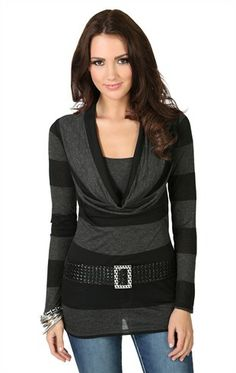 Deb Shops Long Sleeve Striped 2fer Top with Deep Cowl and Half Belt $20.17