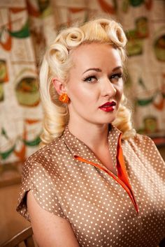 Vintage hairstyle with pin curls