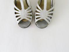 Vintage Silver Shoes / Lurex Peep Toe Heels / by 4birdsvintage