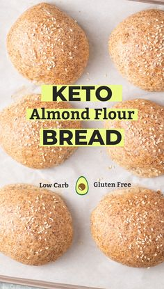 Keto Bread Rolls are perfect for sandwiches, burgers, or simple to enjoy with butter or to soak up sauces. These low carb rolls are made with high fiber psyllium husk and almond flour. Keto Almond Bread, Coconut Flour Bread, Best Keto Bread, Almond Flour Recipes, Low Carb Bread, Low Carb Keto, Keto Fat, Almond Butter, Flaxseed Meal Recipes