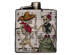 Day of the Dead Decorated Stainless Steel Flask 6oz. - FD186 . $16.00. This very unique flask is decorated with a durable image on the front only. The flask holds 6oz of your favorite liquor.