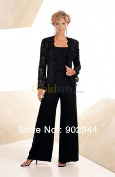 0acfa73829653 Online Shop Black Navy Blue Chiffon Beading Lace Casual Mother Of the Bride  Pant Suits With Long Sleeve Jacket Plus Size