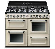 TR4110P1 Dual Fuel Range Cooker - Cream & Black Stove Oven, Smeg Kitchen, Kitchen Dining, Kitchen Appliances, Kitchen Oven, White Appliances, Smeg Range, Home Organization