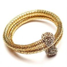 Gold Crystal Diamante Snake Look Spiral bracelet with diamante hearts - We Love Heart, Heart Jewelry, Spiral, Snake, Wedding Rings, Engagement Rings, Crystals, Bracelets, Originals