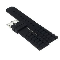 Mens Black Silicone Rubber Diver Watch Band Strap For Fossil Nate