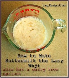 How to make buttermilk from milk or yogurt. Pinning this for later so I never run out of buttermilk again! Also gives directions to make lactose free dairy free buttermilk