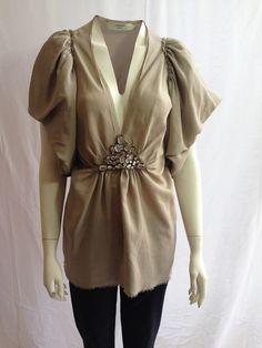 Lanvin Silk Embellished Light Grey Blouse £220 Size 46 EU