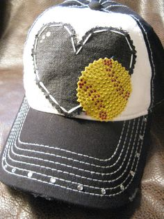 Softball mom love patchwork distressed ball cap