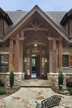 Mountain rustic white exterior houses, dream house exterior, cottage exterior, mountain home exterior Style At Home, Haus Am See, Porte Cochere, Building A Porch, Building Homes, Rustic Home Design, Dream House Exterior, Exterior Houses, Mountain Home Exterior