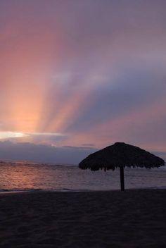 Sunrise over the beach at Playa Dorada in Puerto Plata, Dominican Republic