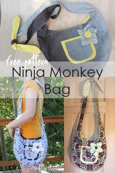 Ninja Monkey Bag Free Pattern on craftystaci.com #freesewingpattern #freebagpattern