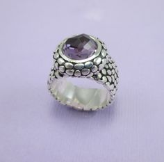 Barcelona Sterling Silver Ring with Bezel Set, Cushion Cut Amethyst.  As Always....Available in Sizes 9-14!   $650