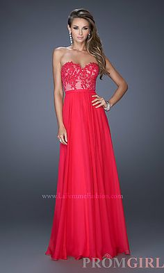 de2a09effb Strapless Illusion-Lace Prom Gown by La Femme 20393