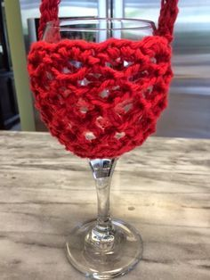 Hooked by Heidi: Crochet Wine Glass Holder with Neck Strap Free Pattern Tutorial.  Hilarious!