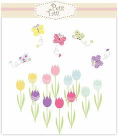 flowers clip art butterfly clip art Digital clip by petittatti Butterfly Clip Art, Tulips Garden, Birthday Invitations, Invites, All Art, Bookmarks, Birthdays, Baby Shower, Digital