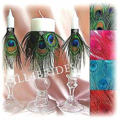 Peacock Wedding Ceremony Decor Unity Candle and Tapers Set (candle holders not included). You an have this beautiful set made in any of the four colored feathers. In the notes to seller section Floating Candles Wedding, Candle Wedding Centerpieces, Flower Centerpieces, Flower Arrangements, Unity Candle Holder, Mason Jar Candle Holders, Candle Set, Wedding Ceremony Flowers, Rose Wedding Bouquet