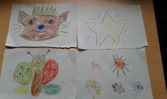 Sol, estrella, flores y gato.