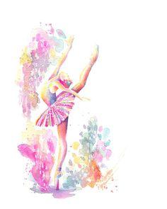 Ballerina grand - print, high attitude, ballet, watercolor p Art Ballet, Ballet Painting, Ballerina Art, Painting Art, Ballerina Sketch, Ballet Drawings, Dancing Drawings, Art Drawings, Drawing Art