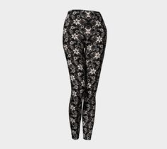 Black with White Flower Leggings, Leggings by Brittany Bonnell. Printed leggings with compression fit performance fabric milled in Montreal Shop Art, Design Lab, Printed Leggings, Workout Leggings, Brittany, White Flowers, Pajama Pants, Fabric, Shopping