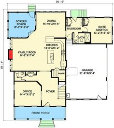 first floor -- Open Floor Plan Farmhouse - 30081RT | 2nd Floor Master Suite, Bonus Room, Butler Walk-in Pantry, CAD Available, Corner Lot, Country, Den-Office-Library-Study, Farmhouse, In-Law Suite, Media-Game-Home Theater, PDF, Photo Gallery, Traditional | Architectural Designs