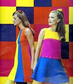 Models in colourful mod fashions, 1960s.