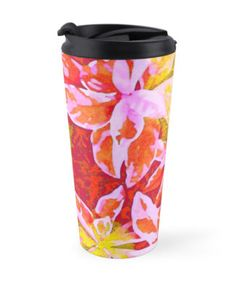 """""""Tropical Punch"""" Travel Mugs by PolkaDotStudio 