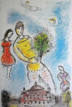 """Marc Chagall, lithograph, Valentines gift, Ahava, Love, heaven, opera, angels, surrealism, large format, large wall print, French artist, offset, jewish art.  Marc Chagall - Large wall Art, offset lithograph by Marc CHAGALL created by the artist in 1981 and entitled Dans le ciel de lopera.  Dimensions: 35.82 x 23.03"""" / 91 cm x 58,5 cm. This lithograph was edited on a paper called satin coated paper slightly stiff, (Bristol paper style) and is in perfect condition. Unsigned and unnumbered..."""