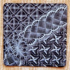 Lily's Tangles: Diva's challenge and my weekly tiles Tangle Doodle, Tangle Art, Doodles Zentangles, Zentangle Patterns, Doodle Drawings, Doodle Art, Black Paper Drawing, Silver Pen, Black Tiles