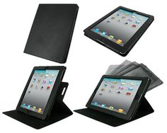 Dual-View Multi Angle Leather Case Cover for Apple iPad 4th Generation / The new iPad 3 / iPad 2 - Black
