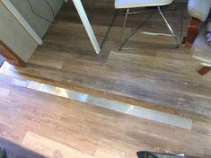 Picture Trailer Decor, Trailer Interior, Rv Interior, Installing Laminate Flooring, Vinyl Plank Flooring, Vinyl Planks, Diy Camper, Camper Hacks, Camper Steps