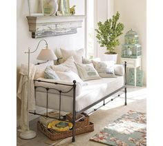 Vintage French Daybed - lots of daybed ideas on this post - this is a great space!