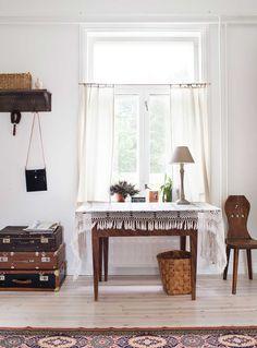 Eteishallin huonekalut ja tavarat ovat kirpputoreilta. Pitsiliina on Päivin isän äidin mummolta.