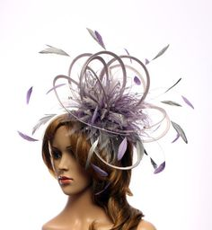 Silver and Purple Satin Feather Fascinator Hat