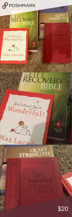 Max Lucado & NLT Bible bundle God thinks you're wonderful & Gods inspirational Promise book by Max Lucado. The Life Recovery New Living Testament Bible & Quiet Strength NLT New Testament Bible. All brand new. Other
