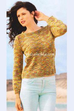 Пуловер из волнистого узора