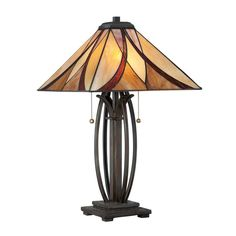 Quoizel Asheville 25-in Valiant Bronze Table Lamp with Glass Shade