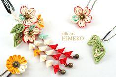 つまみ細工「ふく(fortune)」●silk art HIMEKO  facebookpage https://ja-jp.facebook.com/himekosilkart  ● http://www.a-yarn.com/