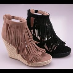 NEW ARRIVAL   Fringe wedge The Fringe wedge. A perfect accessory for this Spring/Summer. Color: sand. Will have limited quantities available. If you would like me to tag you when they arrive please like and comment size below to be notified  Price will be $45.        Available in size 5.5(1) , 6(1), 6.5(1), 7(2), 7.5(2), 8.5(1), 9(1), 10(1). 2 a T Boutique  Shoes Wedges