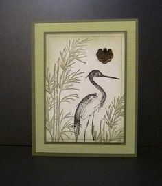 handcrafted card by Reddyisco .. . Asian theme ... crane and reeds ... luv the greens inn the multi-layered matting ...