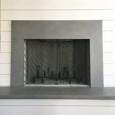 Staggering Useful Ideas: Concrete Fireplace Rustic corner fireplace apartment.Tv Over Fireplace Wires french farmhouse fireplace. Tv Over Fireplace, Classic Fireplace, Craftsman Fireplace, Simple Fireplace, Paint Fireplace, Shiplap Fireplace, Black Fireplace, Fireplace Mirror, Concrete Fireplace