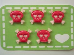 5 Pink crossbone skull appliques by KawaiiKanopy on Etsy, $3.50
