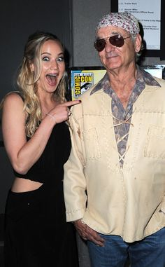 Jennifer Lawrence has been dying to meet Bill Murray, and it shows! The Hunger Games actress and the movie icon ran into each other at Comic-Con 2015 in San Diego, Bill Murray, Jennifer Lawrence, Hot Actors, Actors & Actresses, Entertainment Tonight, San Diego Comic Con, Mockingjay, Celebs, Celebrities